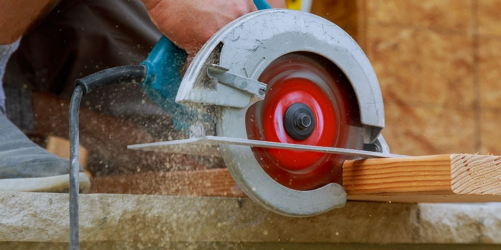 cutting a 2x4 with a circular saw