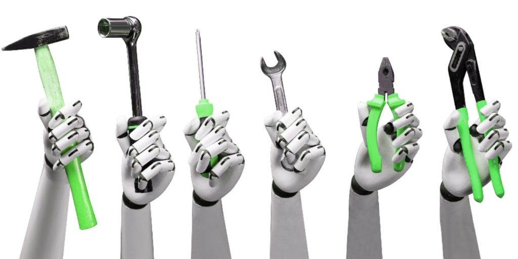 green tools held by robots
