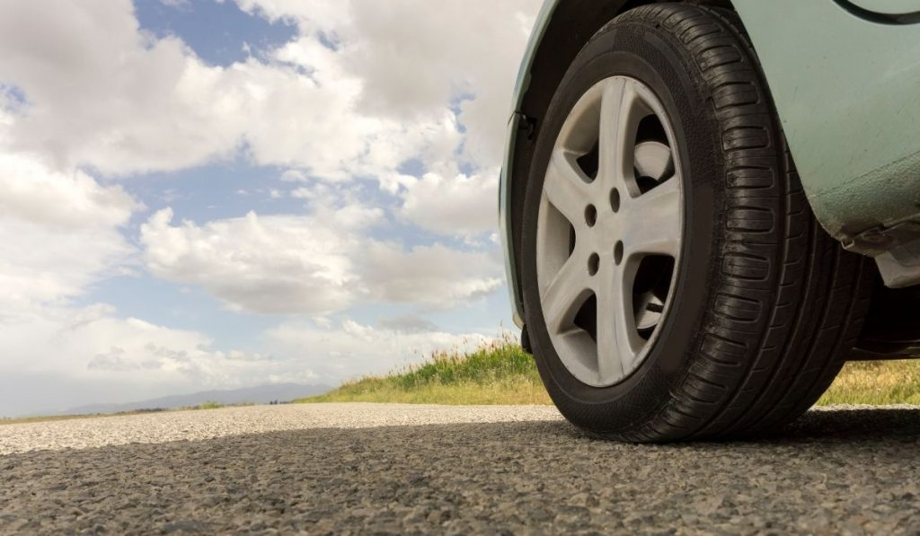Car Tire on The Road
