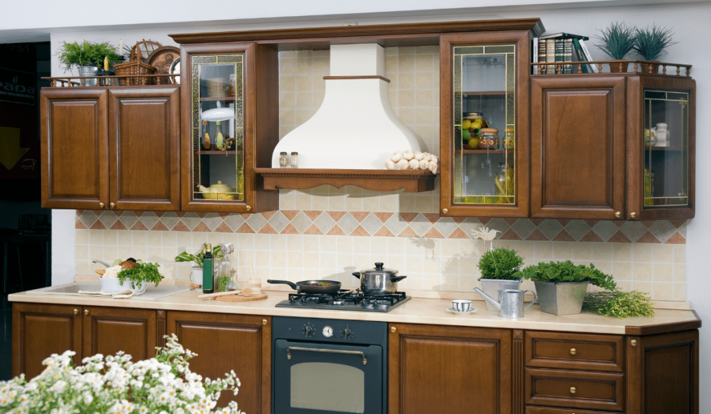 Interion of a kitchen  with wooden touch.