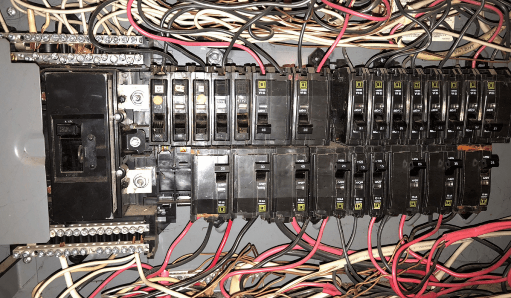 An electric circuit of a breaker inside a panel.