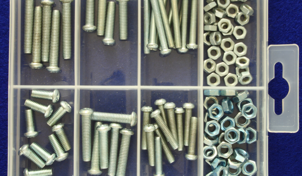 Plastic organizer with nuts and bolts.