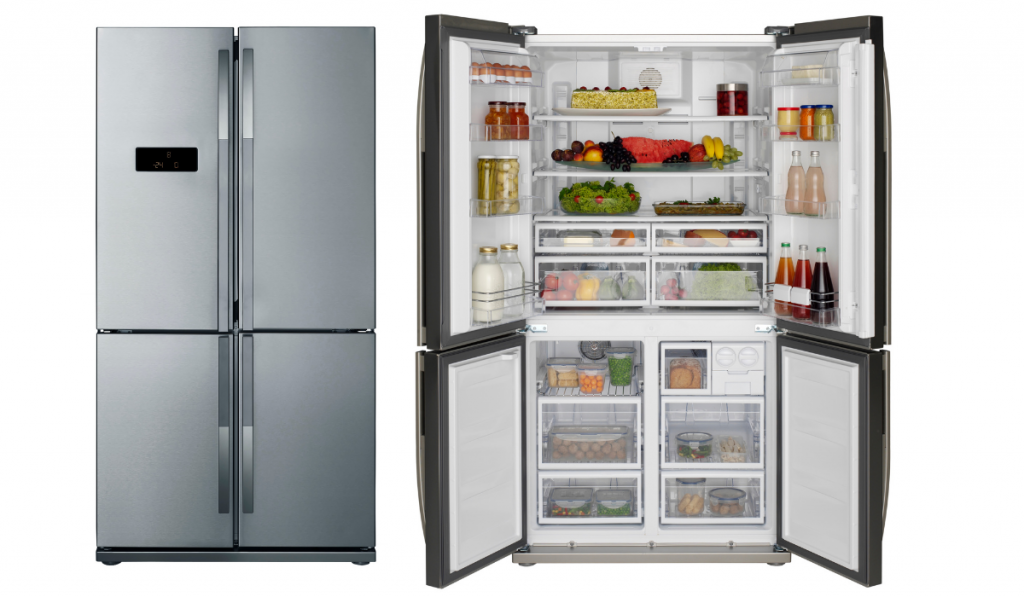 A comparison of open and close refrigerator on on a white background