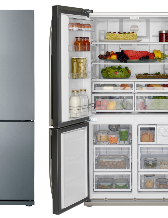 side by side photo of an open and close refrigerator