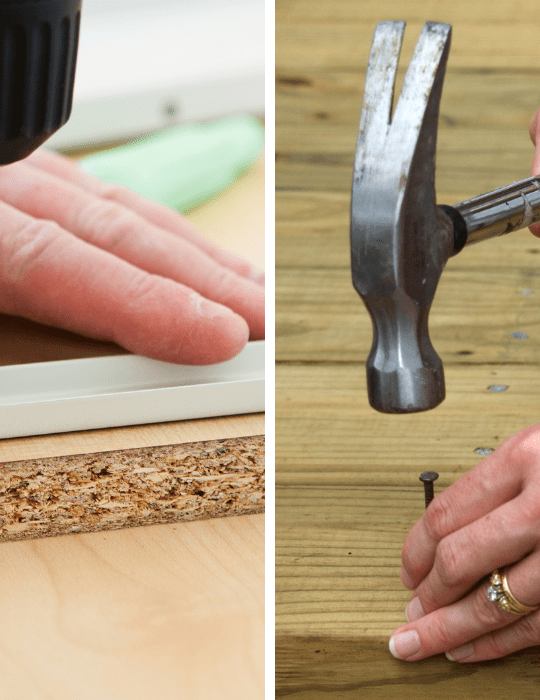 image of one man using a screw while the other is using a nail