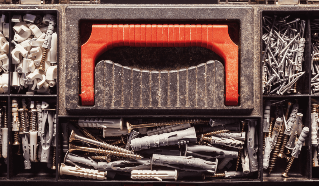 tool box with different nails and screws